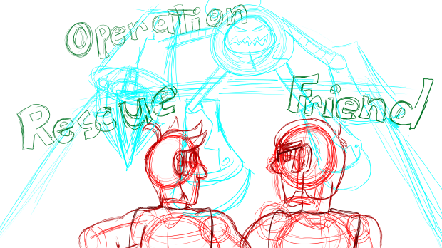 Xray and Vav Title Card - Operation Rescue Friend SKETCH